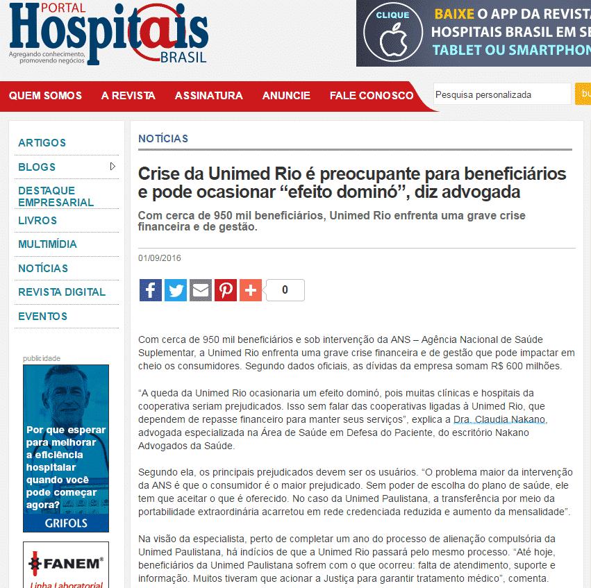"""REVISTA HOSPITAIS – Crise da Unimed Rio é preocupante para beneficiários e pode ocasionar """"efeito dominó"""""""