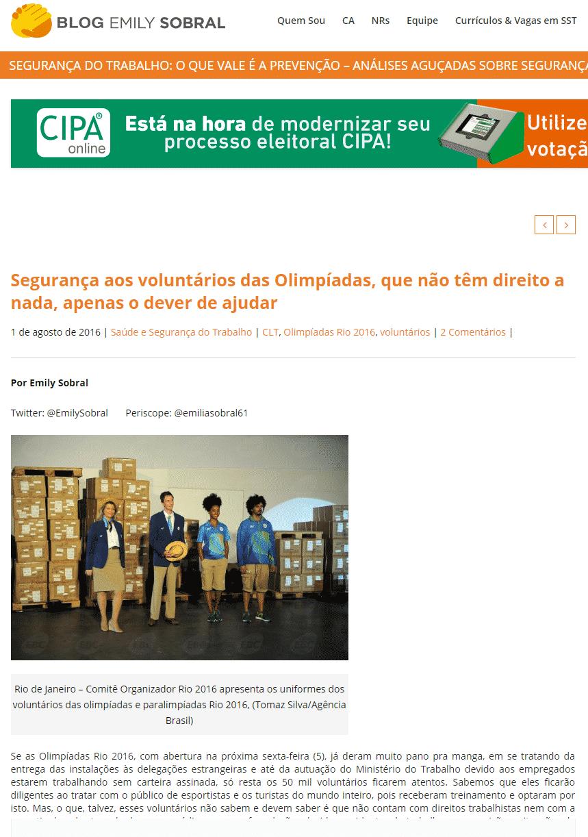 BLOG EMILY SOBRAL – Segurança aos voluntários das Olimpíadas, que não têm direito a nada, apenas o dever de ajudar